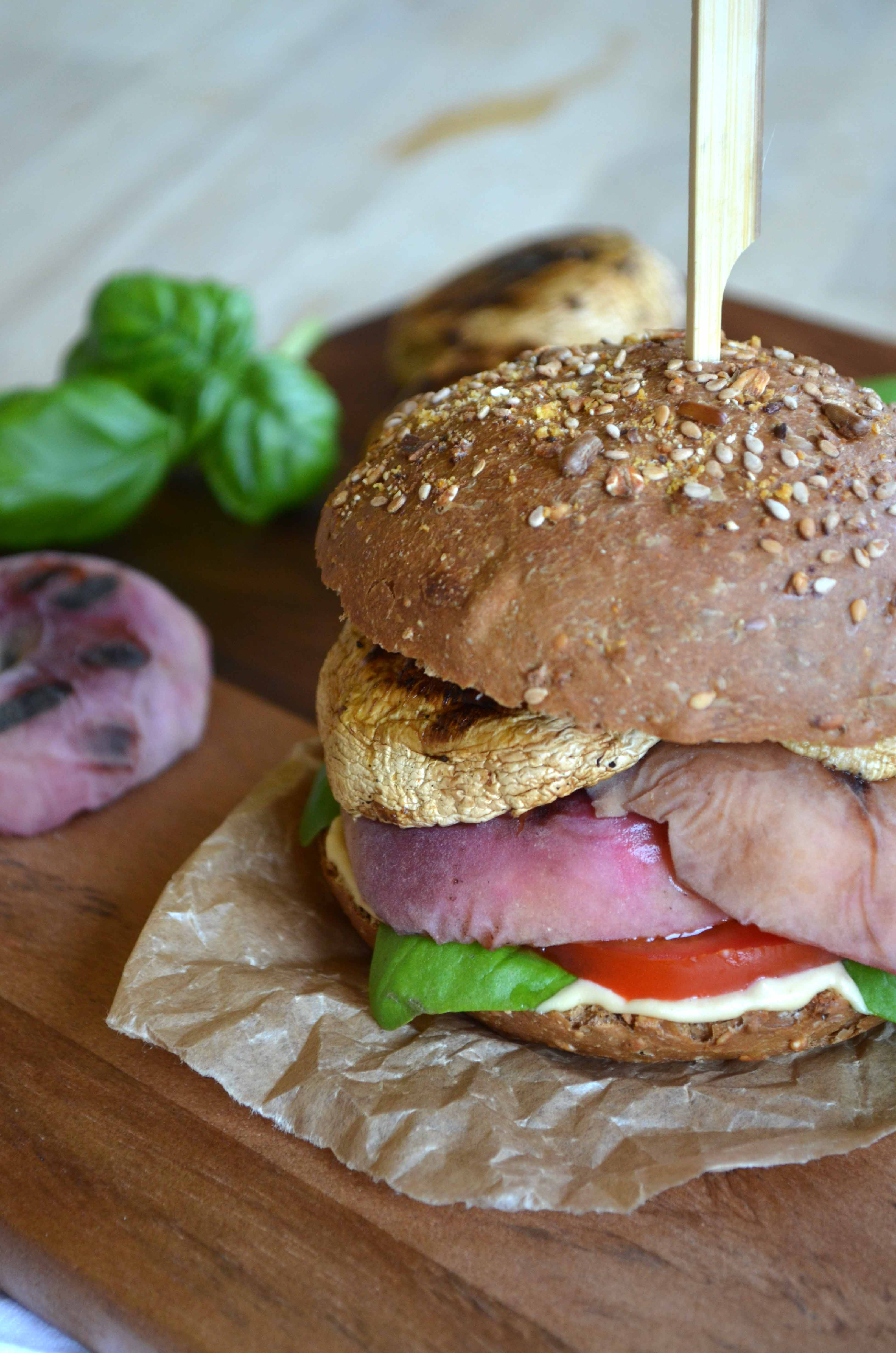 Grilled Wild Peach and Lime-Ginger Portobello Burgers