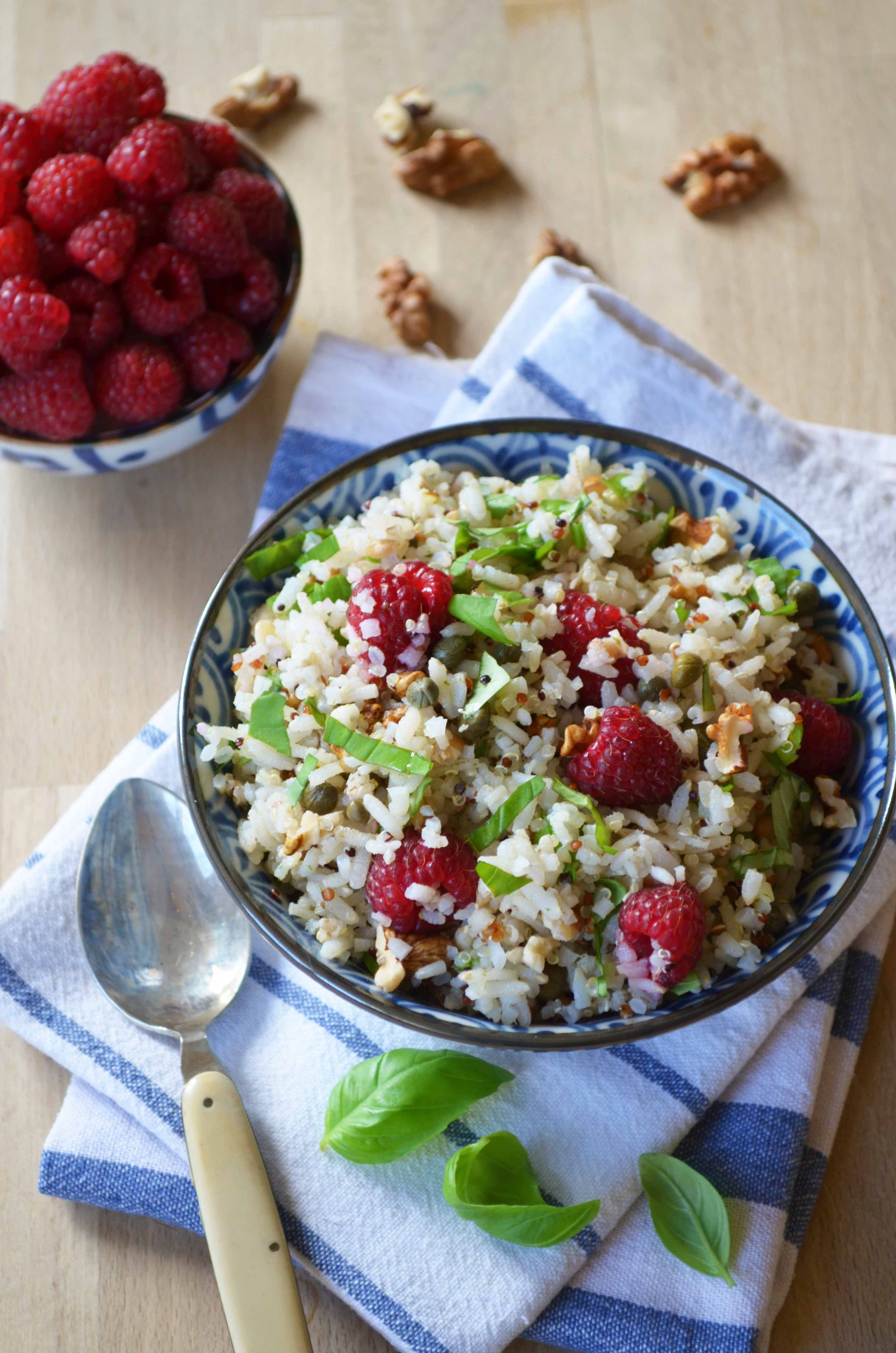 Grain Salad with Raspberries, Basil and Walnuts