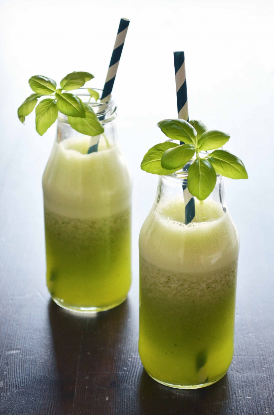 Recipe for whole food frosty basil lemonade via That Healthy Kitchen