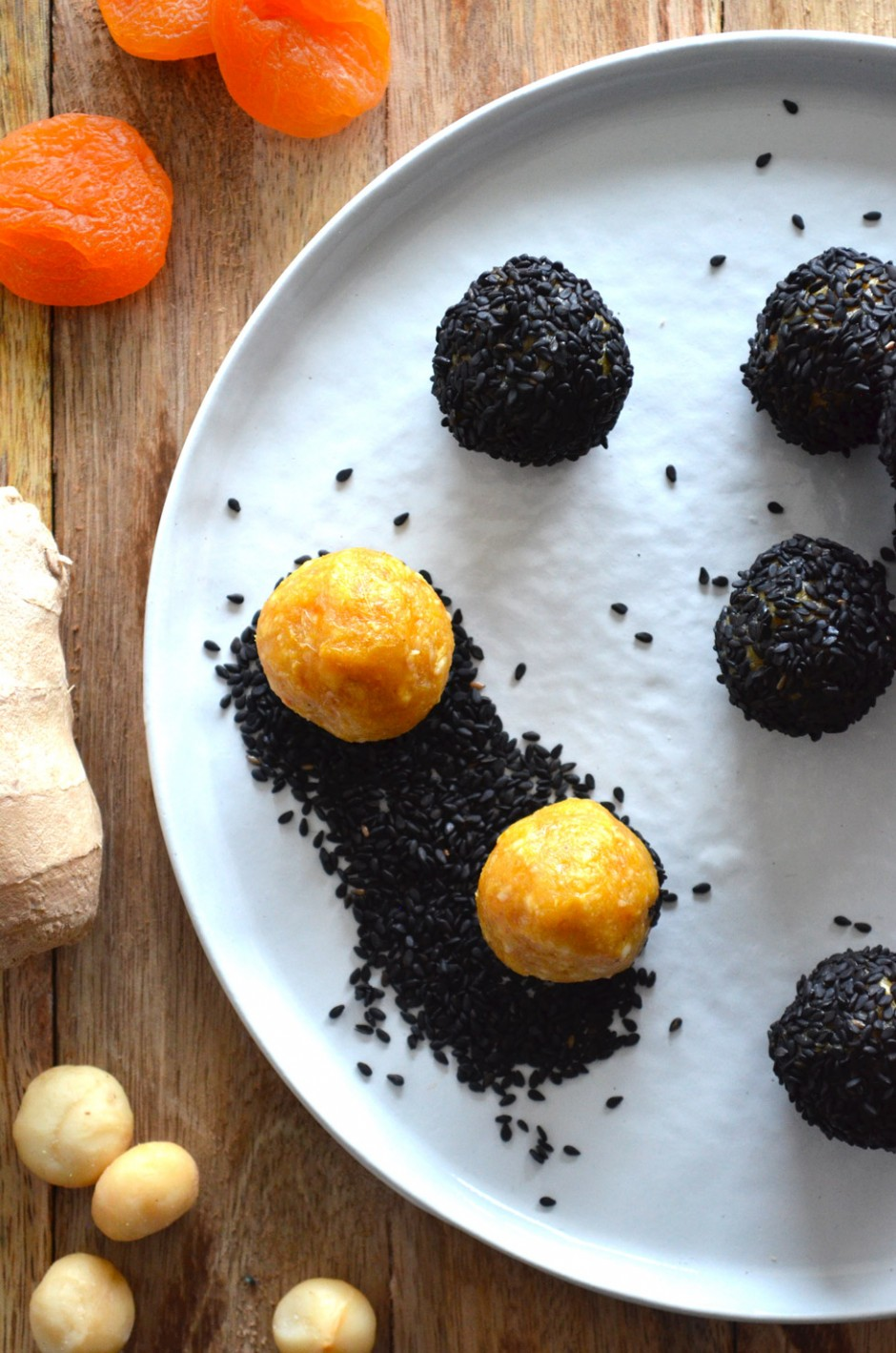 Recipe for apricot and ginger bliss balls with black sesame seeds
