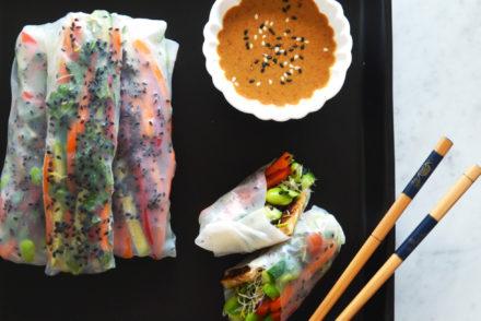 High protein vegan summer rolls
