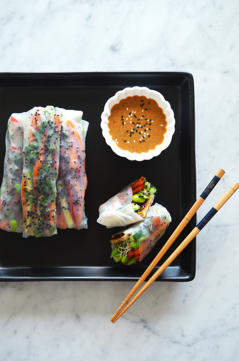 High protein vegan summer rolls