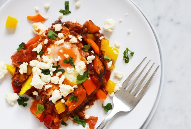 Recipe for Middle-Eastern Shakshuka with feta