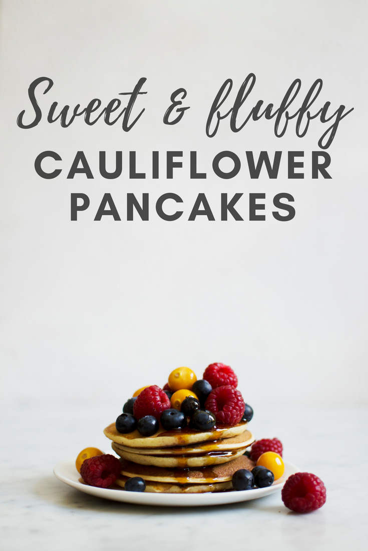 Recipe for sweet and fluffy cauliflower pancakes. These pancakes with a hidden vegetable are super delicious, and I promise you will not taste the cauliflower at all. A good way to get more vegetables into your diet without changing your diet too much! Recipe via That Healthy Kitchen